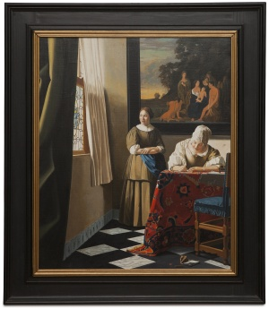 Lady writing a letter with her maid - Scrittrice con la fantesca cm 73x61