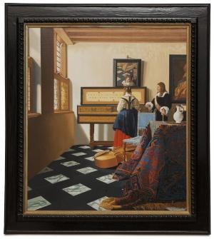 The music lesson - Gentiluomo con dama alla spinetta - cm 75x65